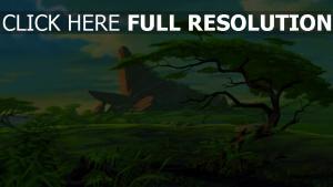 königsfelsen der könig der löwen savanne disney das geweihte land landschaft