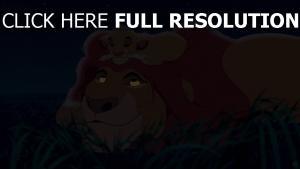 mufasa der könig der löwen simba löwe disney gras nacht