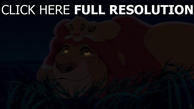 hd hintergrundbilder mufasa der könig der löwen simba löwe disney gras nacht