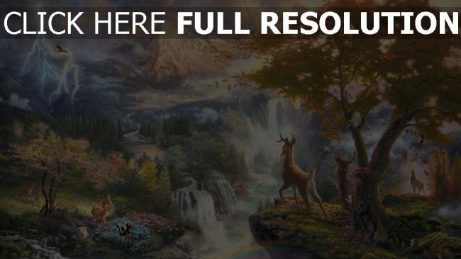 hd hintergrundbilder disney blume thomas kinkade bambi klopfer malerei