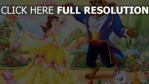 madame pottine disney biest belle tanz garten lumiere die schöne und das biest blumen malerei