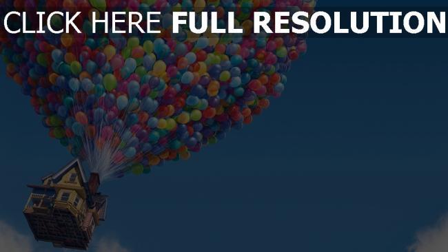 hd hintergrundbilder oben pixar luftballons disney himmel haus