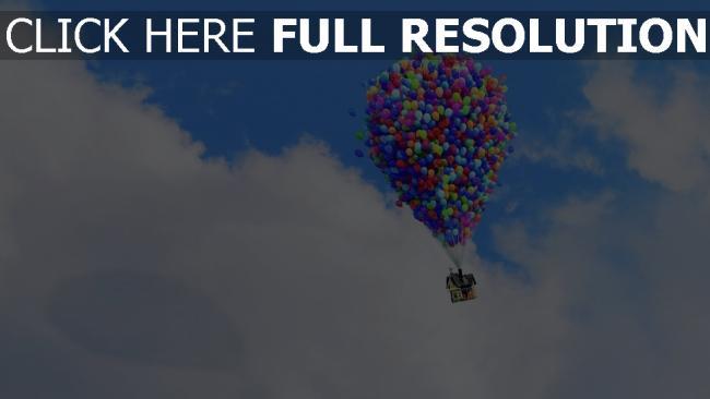 hd hintergrundbilder wolken luftballons himmel pixar disney oben haus