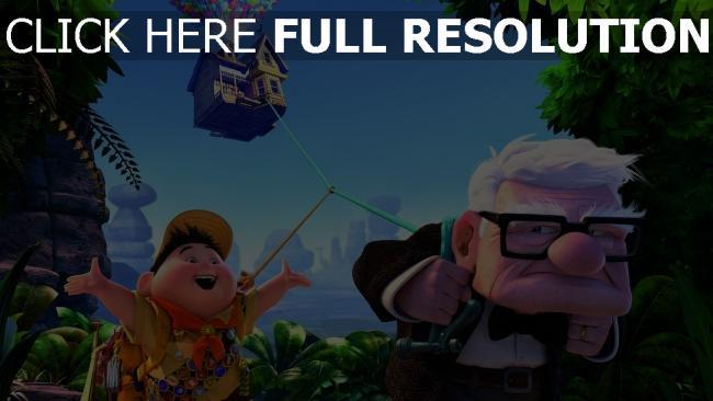 hd hintergrundbilder luftballons carl fredricksen haus dschungel oben disney pixar russel junge