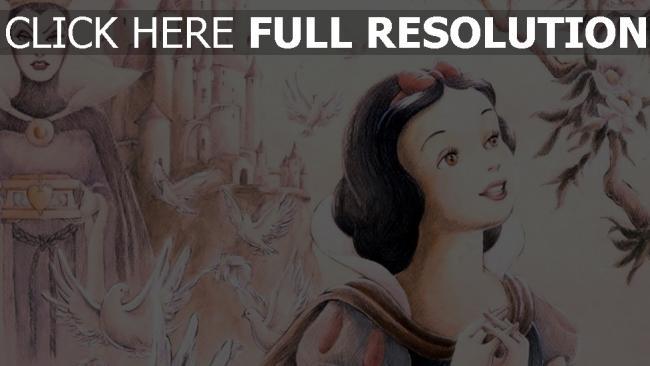 hd hintergrundbilder schneewittchen und die sieben zwerge schneewittchen böse königin disney malerei