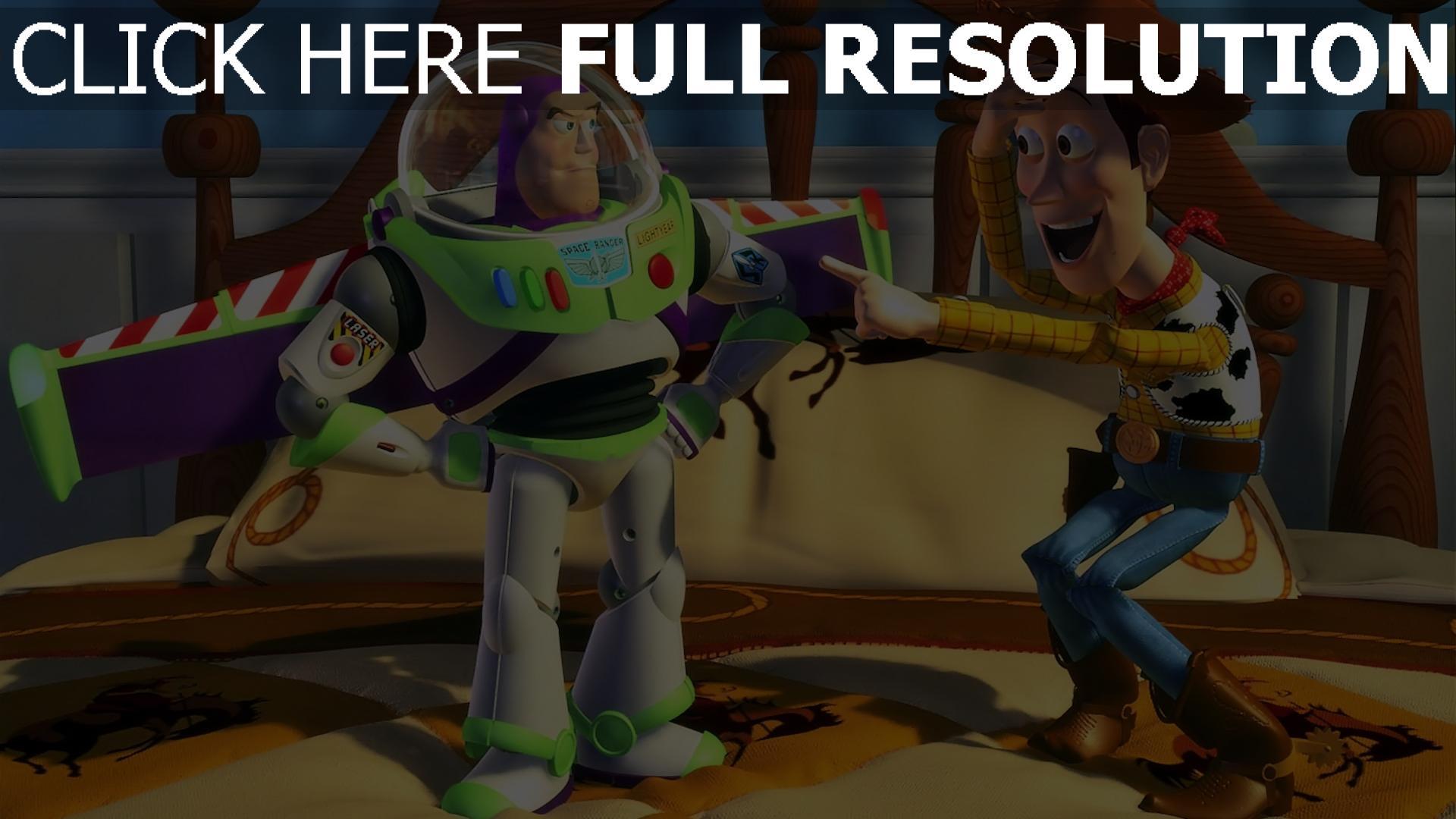hd hintergrundbilder lachen buzz lightyear woody pixar disney toy story 1920x1080