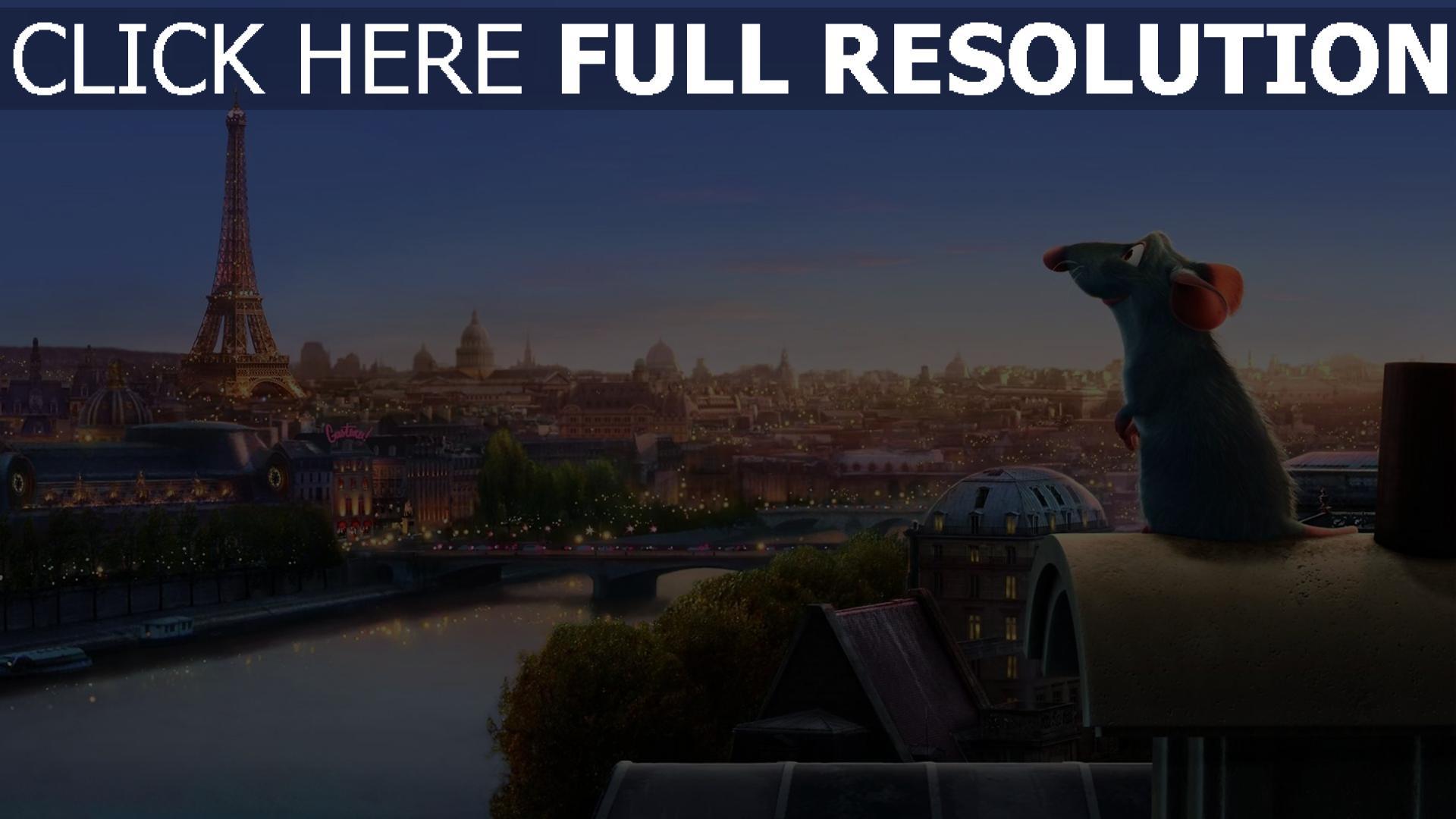 hd hintergrundbilder stadt eiffelturm pixar paris ratatouille ratte 1920x1080