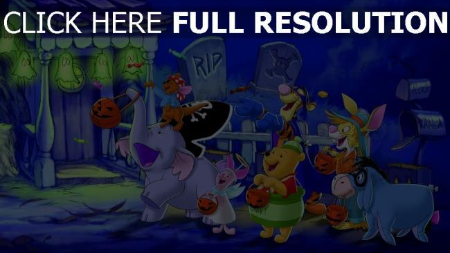 hd hintergrundbilder halloween i-ah winnie puuh rabbit tür tigger ferkel roo kostüme disney