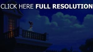 tiana balkon sterne wolken nacht disney küss den frosch