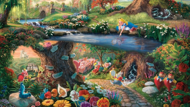 hd hintergrundbilder disney alice thomas kinkade malerei alice im wunderland