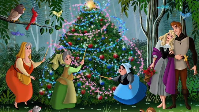 hd hintergrundbilder dornröschen aurora weihnachten disney fee prinz