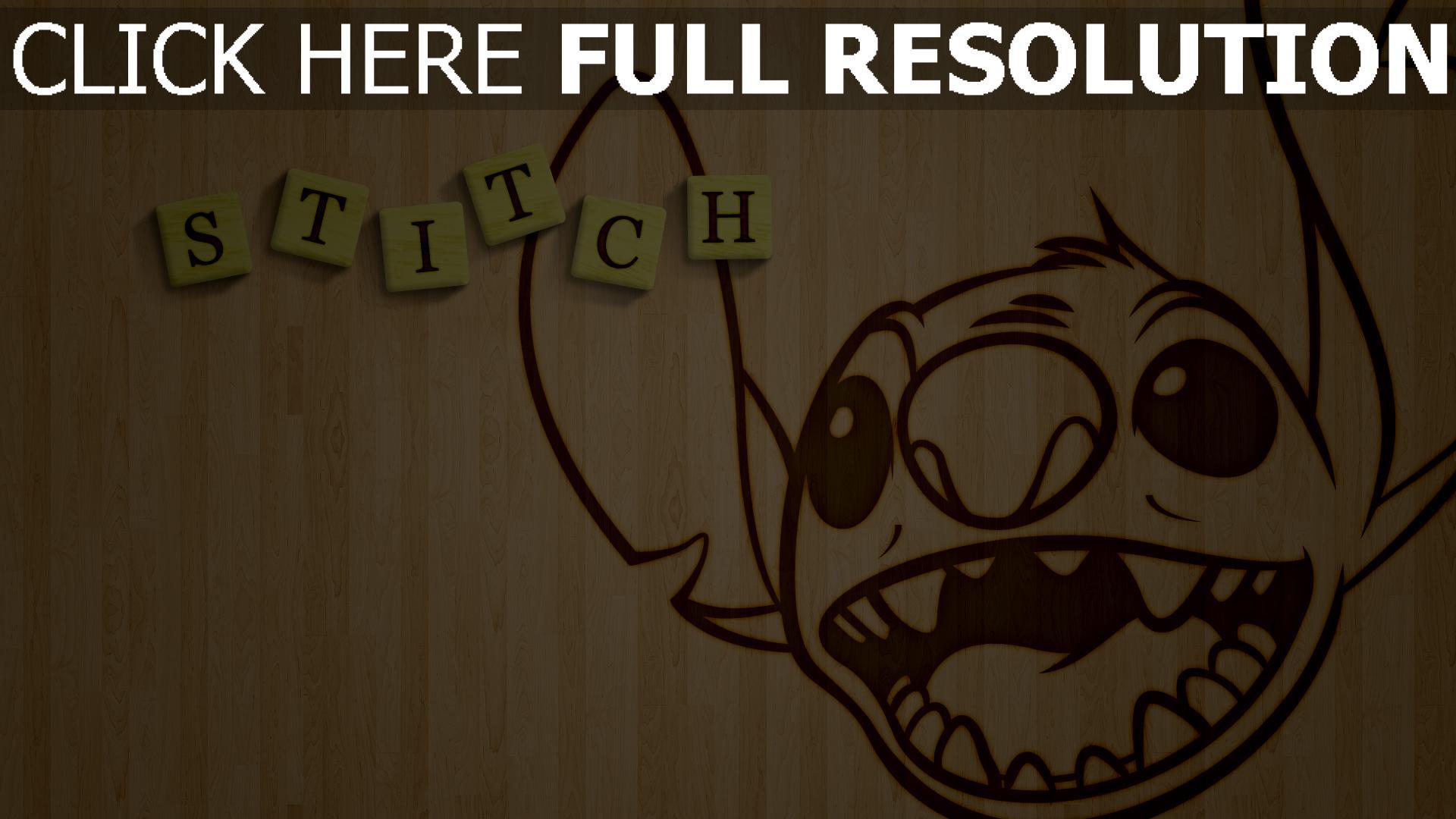 hd hintergrundbilder lilo & stitch stitch disney holz gesicht 1920x1080
