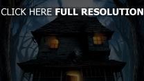 nacht bäume monster house haus risse