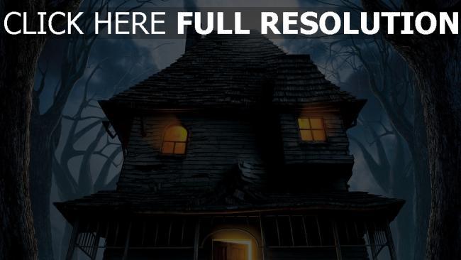 hd hintergrundbilder nacht bäume monster house haus risse