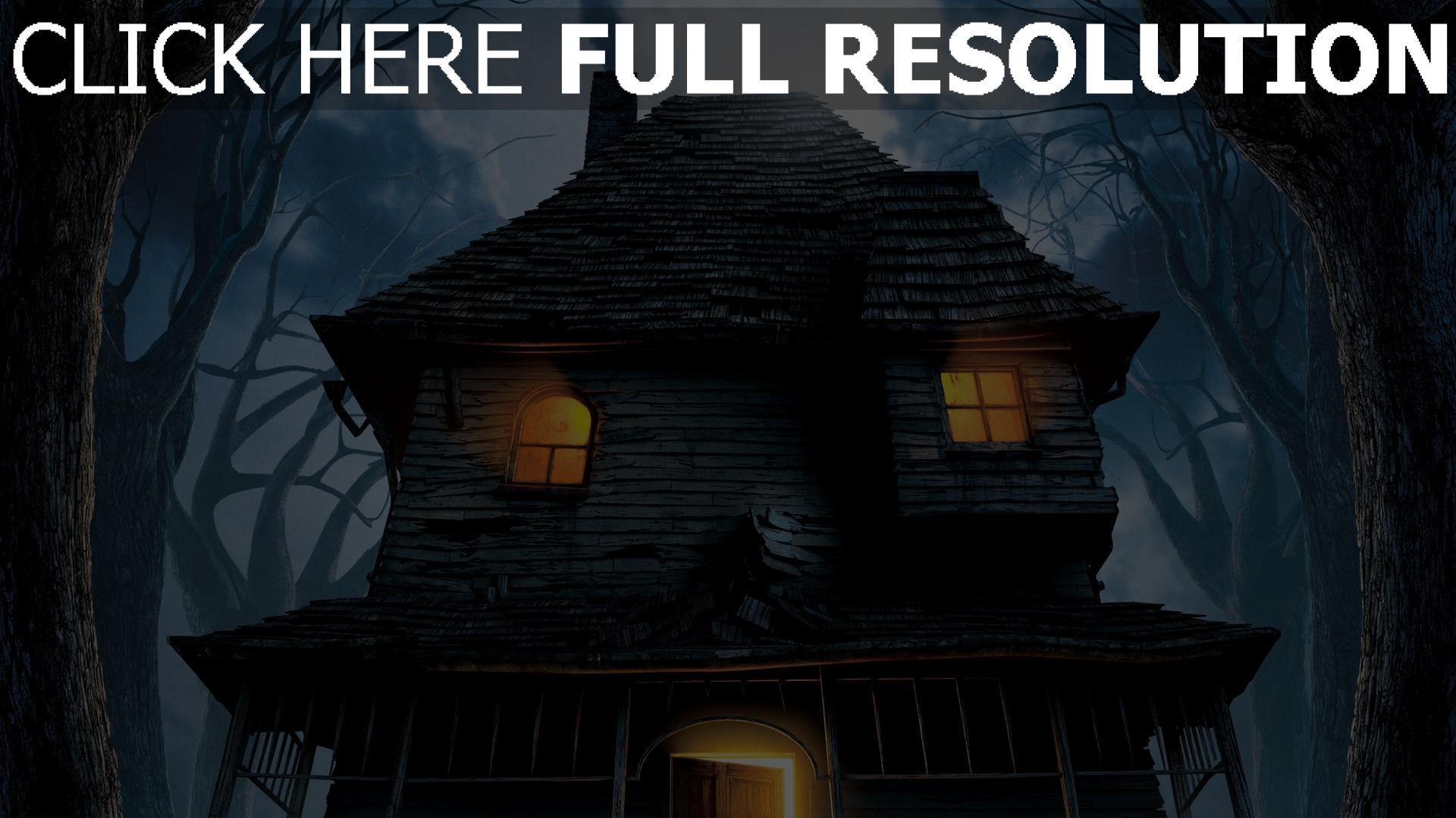 hd hintergrundbilder nacht bäume monster house haus risse 1920x1080