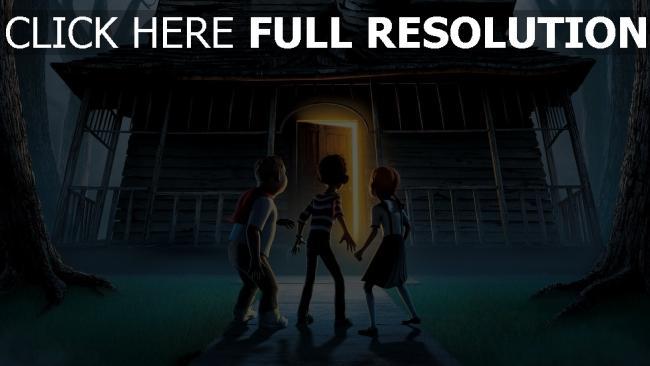 hd hintergrundbilder tür haus kinder monster house