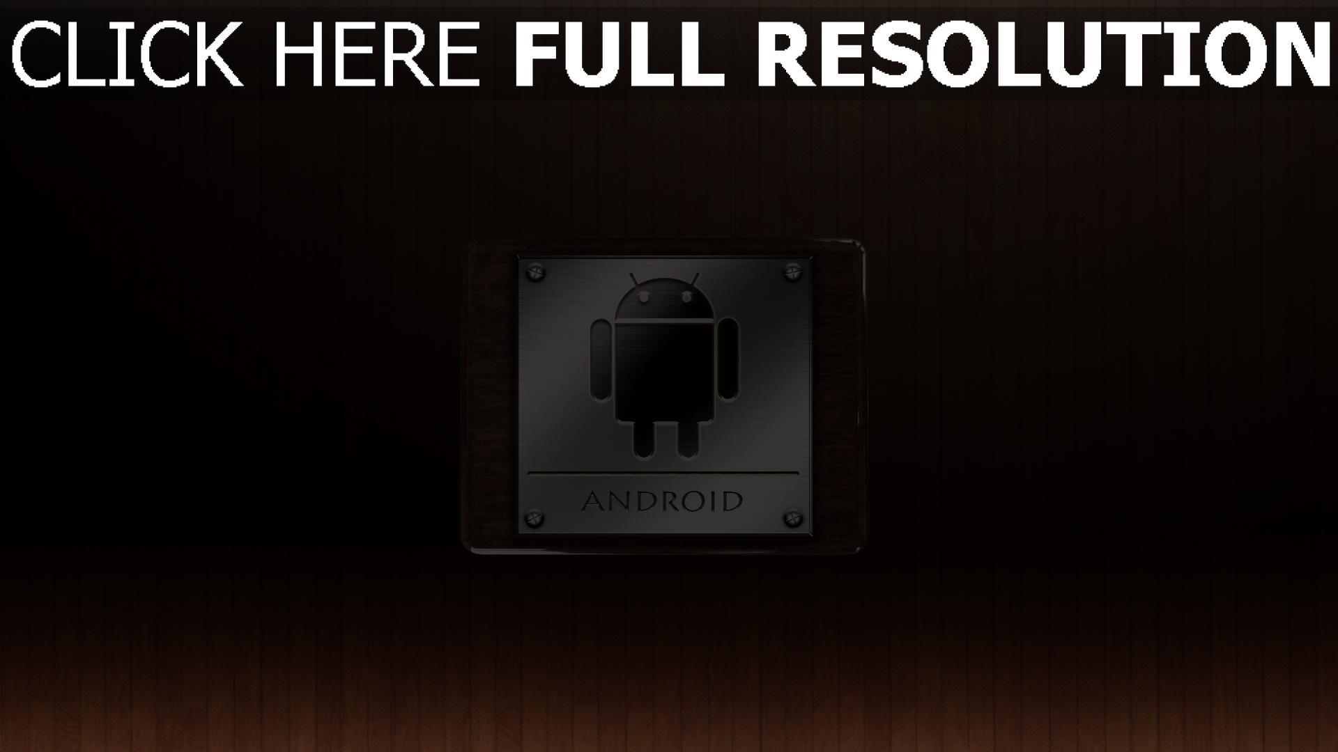 hd hintergrundbilder android metall holz textur emblem 1920x1080