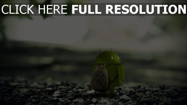 hd hintergrundbilder android roboter grün felsen rucksack