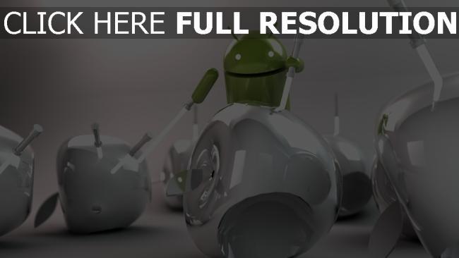 hd hintergrundbilder android vs apple system gefecht kampf