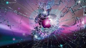 apple logo emblem gebrochen glas