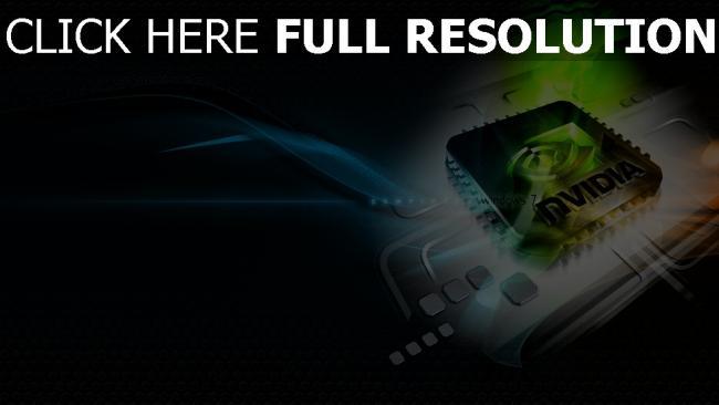 hd hintergrundbilder nvidia logo grün blau chip
