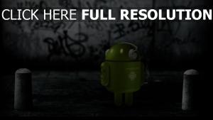 android roboter kopfhörer straße graffiti