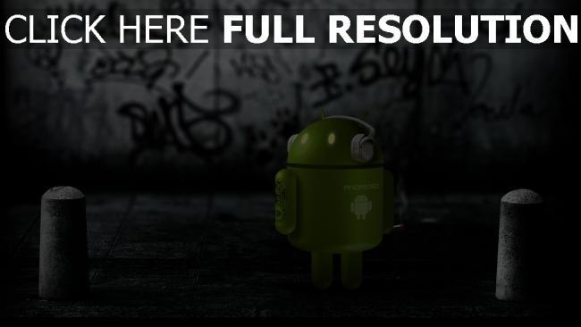 hd hintergrundbilder android roboter kopfhörer straße graffiti