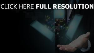 tablette ikonen logos hand