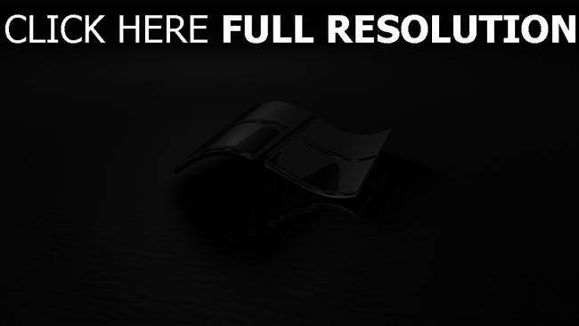 hd hintergrundbilder windows emblem logo 3d schwarz