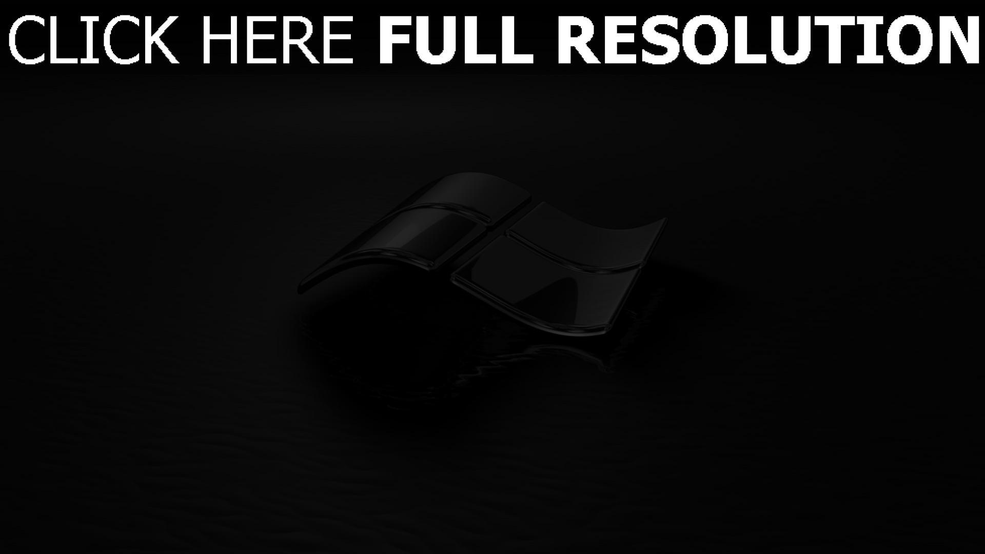 hd hintergrundbilder windows emblem logo 3d schwarz 1920x1080