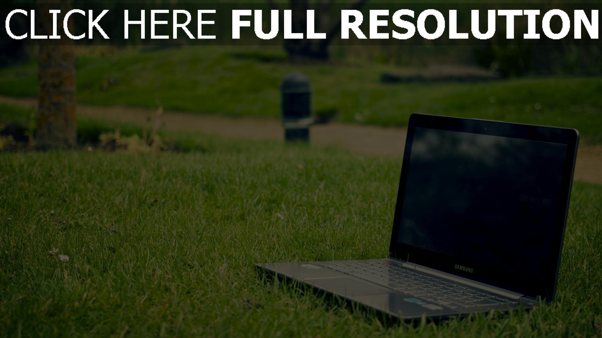 hd hintergrundbilder samsung laptop gras 1920x1080