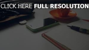 becher handy iphone apple kugelschreiber notizbuch