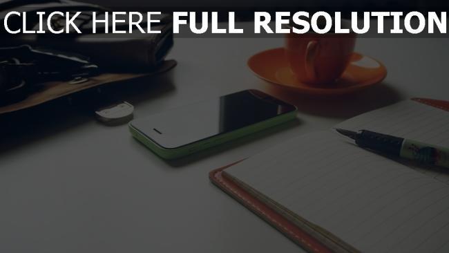 hd hintergrundbilder becher handy iphone apple kugelschreiber notizbuch