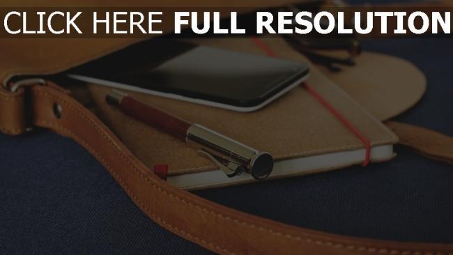 hd hintergrundbilder stift smartphone notebook tasche