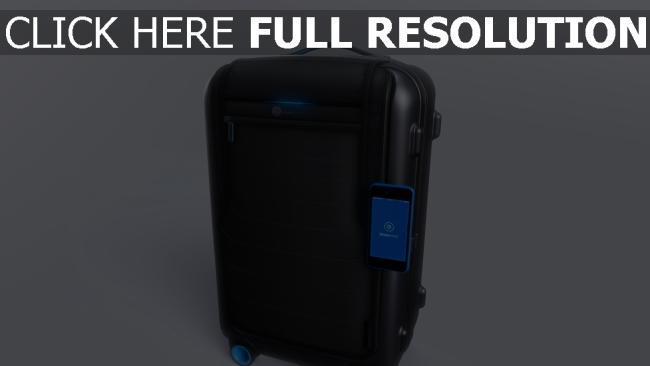 hd hintergrundbilder trolley intelligent smart gepäck gadget bluesmart