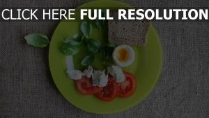 platte tomaten ei brot basilikum
