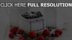 beeren zucker blaubeeren erdbeeren geschirr