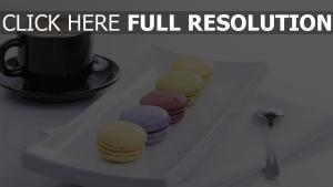 makronen dessert kaffee tasse untertasse