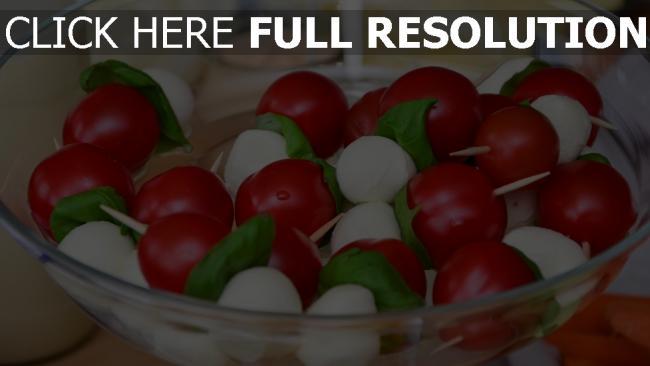 hd hintergrundbilder salat frühstück tomaten käse mozzarella