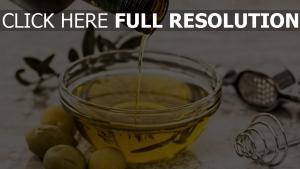 oliven flasche schale olivenöl