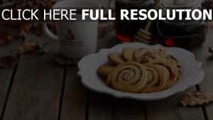 gebäck teller kaffee tisch honig
