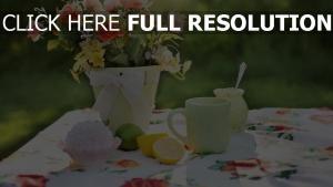 sommer tisch tee tasse vase blumen