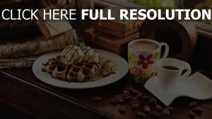 eis waffeln dessert kaffee tassen