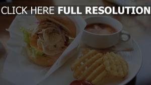 brötchen französisch frites sosus fleisch burger mittagessen