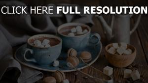 schokolade marshmallows makronen dessert tee zucker