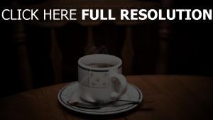 tee tasse tisch löffel dampf