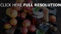 nektarinen honig käse obst mahlzeit