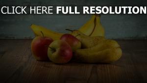 obst äpfel birnen bananen tisch
