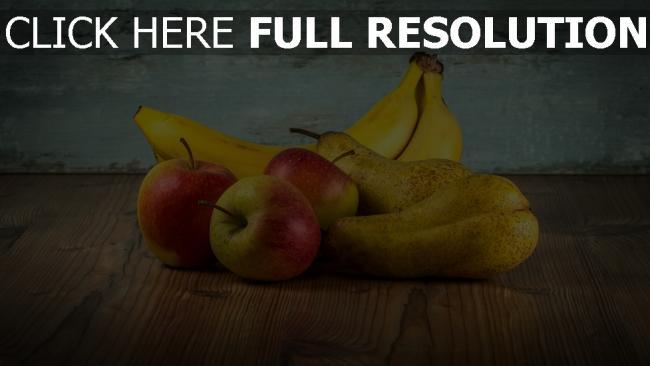 hd hintergrundbilder obst äpfel birnen bananen tisch