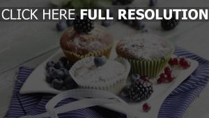 puderzucker beeren kleine kuchen muffins